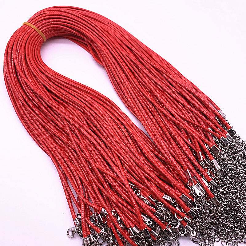 New 5pcs 2mm Leather Cord Wax Rope Chain Necklace Extender Chain Lobster Clasp DIY Jewelry Accessories in Chain Necklaces from Jewelry Accessories