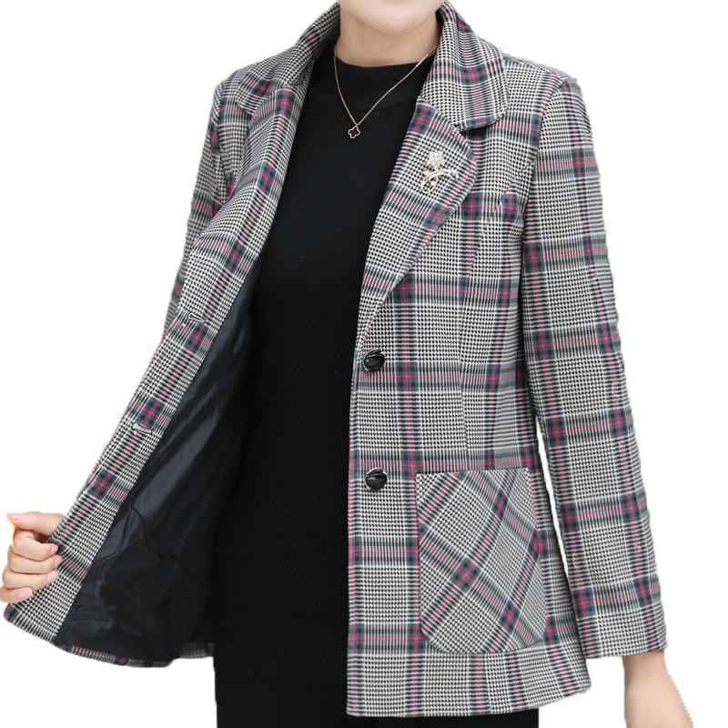 British Style Women Elegant Blazers Red Gray Plaid Classical Jacket Suits Female Notched Collar Design Smart Casual Blazers Suit