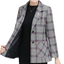 British Style Women Elegant Blazers Red Gray Plaid Classical Jacket Su