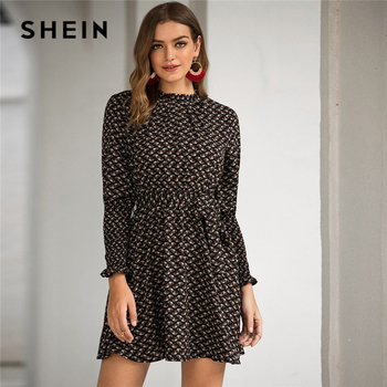 SHEIN Stand Collar Ditsy Floral Print Elegant Dress With Belt Women 2020 Spring Flounce Sleeve Ladies A Line Short Frill Dresses 3