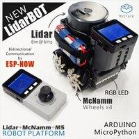M5Stack Oficial LidarBOT AGV Mini carkit Rodas Mecanum 360 Sensor de radar de Laser Python Concurso de Design Eletrônico Programável|Controle remoto inteligente| |  -