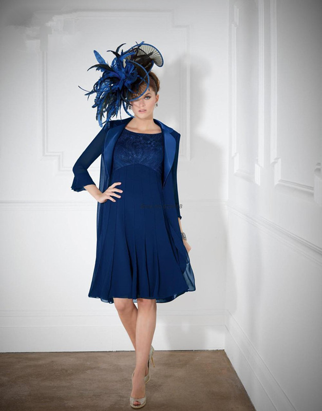 Blue Mother Of The Bride Dresses A-line Knee Length Chiffon Lace With Jacket Plus Size Short Groom Mother Dresses For Wedding
