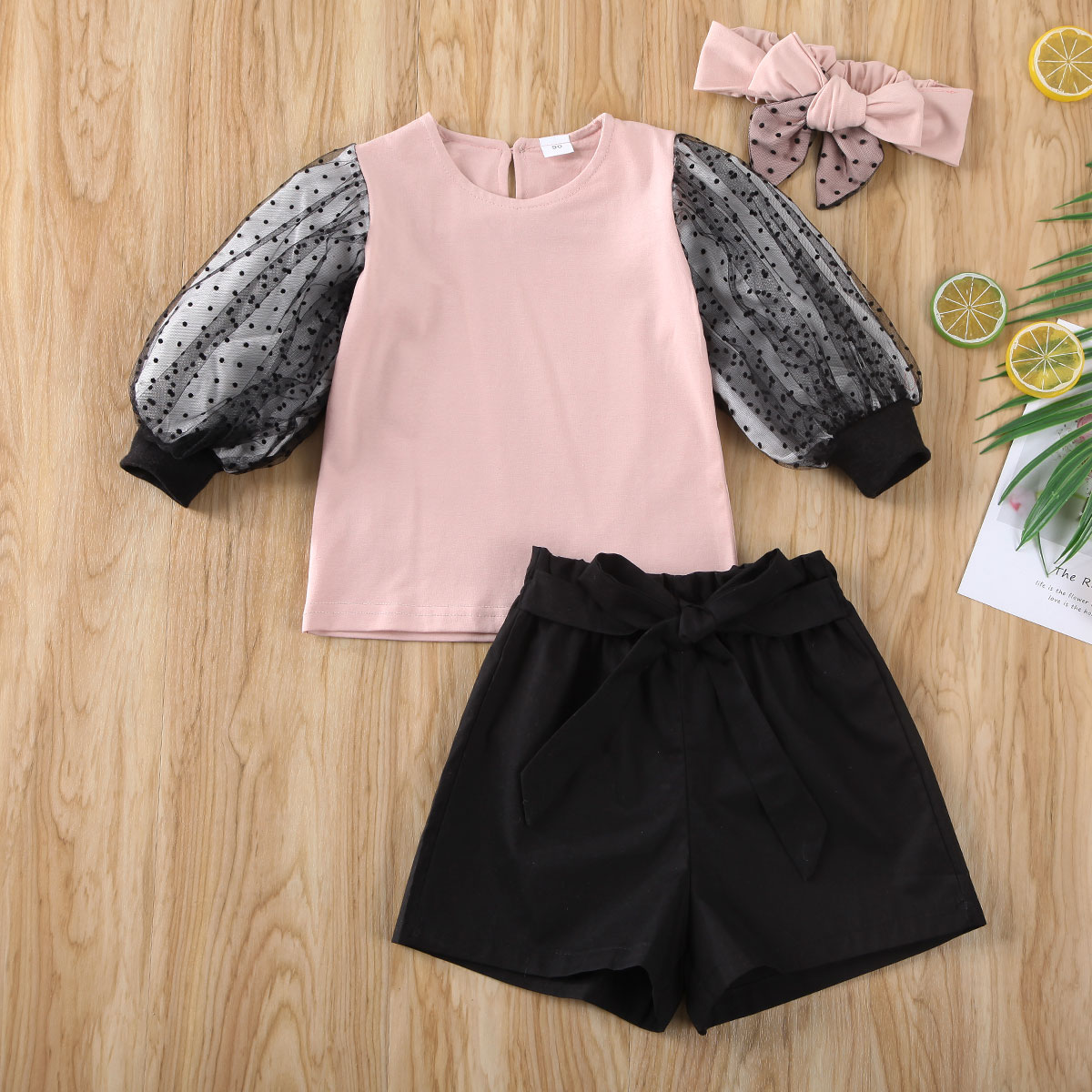Pudcoco Newest Fashion Toddler Baby Girl Clothes Lace Long Sleeve T-Shirt Tops Short Pants Headband 3Pcs Outfits Cotton Clothes