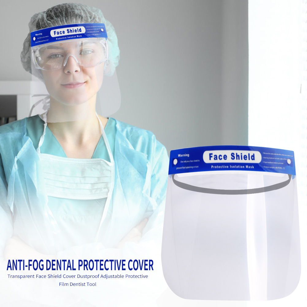 1Pcs Full Face Shield Clear Stretchy Headband Protective Mask Anti-Fog Disposable Protective Visor Shields With Holder