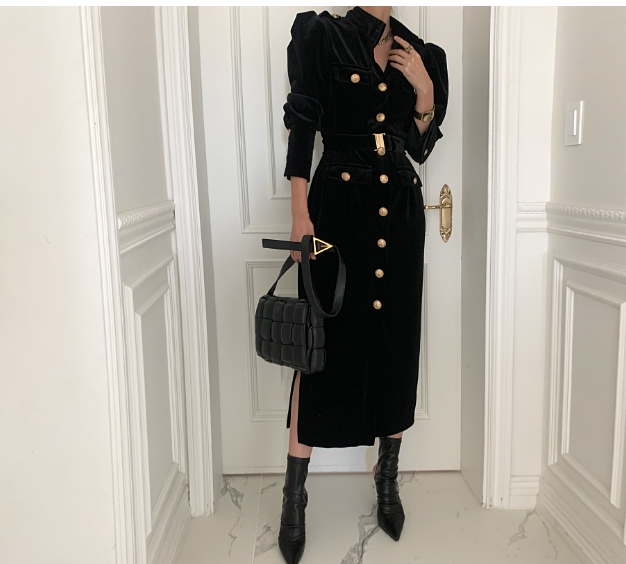 Korean Style Women Spring Autumn Stand Collar Sexy Button Belt Slim Bodycon Dress Elegant Fashion Long Sleeve Party Dress