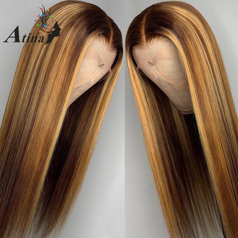 Эффектом деграде (переход от темного к выделить парики из натуральных волос с Африканской структурой, коричневый Мёд блондинка Цветной 13x6 Синтетические волосы на кружеве парики для чернокожих Для женщин Рэми Прямые 130 150 180 плотность - 2