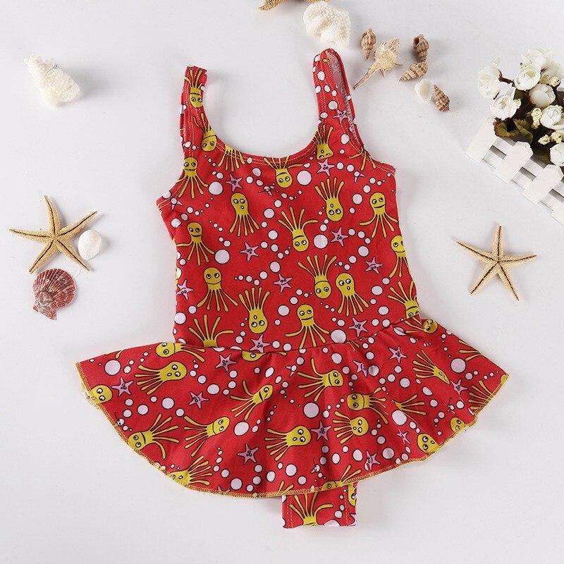 New Child Baby Kids Girl Striped One Piece Swimsuit Swimwear Bikini Bathing Suit Tutu Swimsuit Floral Print