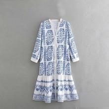 2019 Printed shirt dress vestidos women dress robe femme dress