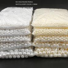 Бусины из АБС-пластика с имитацией жемчуга, круглые белые бусины с отверстием без отверстий, россыпью, счетчик, для изготовления поделок, юв...