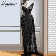 Robe de soirée noire avec perles, robe de bal, forme sirène, tenue de fête africaine, Kaftans arabes, style africain, personnalisée, 2020
