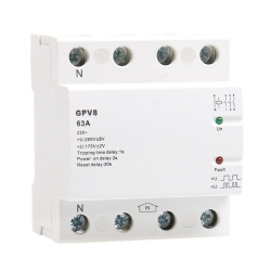 Din Rail Automatic over Under Voltage Protector 220V AC Single Phase & Three Phase Self Resetting Protector GPV8-63D 4P 63A