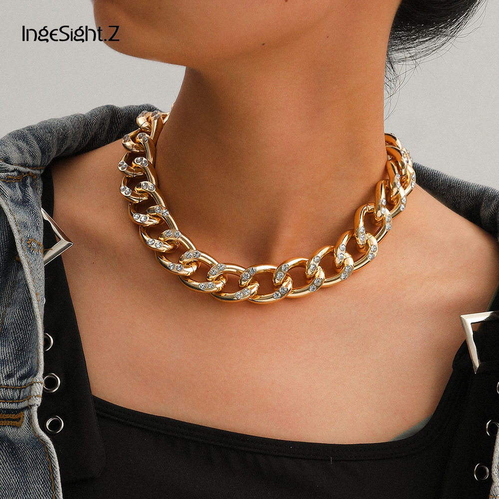 InSight.Z Hip Hop Rhinestone Miami Curb Cuban Choker Necklace Crystal Chunky Thick Short Collar Clavicle Chain Necklaces Jewelry|Chain Necklaces|   - AliExpress