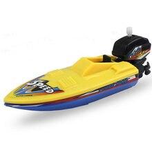 1pc velocidade barco navio vento acima brinquedo flutuador na água crianças brinquedos clássico clockwork banheira chuveiro banho brinquedos para crianças meninos brinquedos