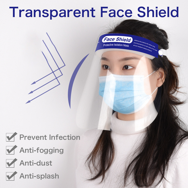 5pcs/lot Safety Clear Grinding Face Shield Screen Mask Visor Eye Protection Anti-fog Protective Prevent Saliva Splash Mask