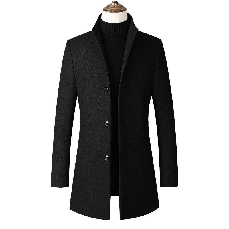 2019 Autumn New Casual High Quality Winterjas Mannen Long Woollen Mantel Herren
