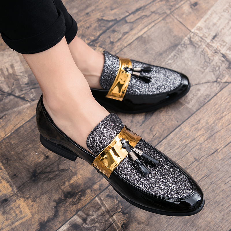 Merkmak Anti-skid Men Flat Black Golden Formal Patchwork Shoe PU Leather Casual Men Shoes For Man Business Dress Shoes