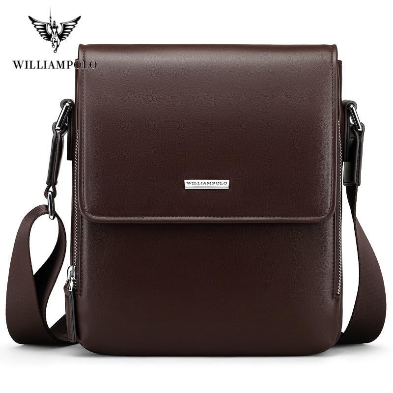 WILLIAMPOLO High Quality PU Leather Men Messenger Bag Casual Business Vintage Men's Bag Genuine Leather Shoulder Bag Crossbody