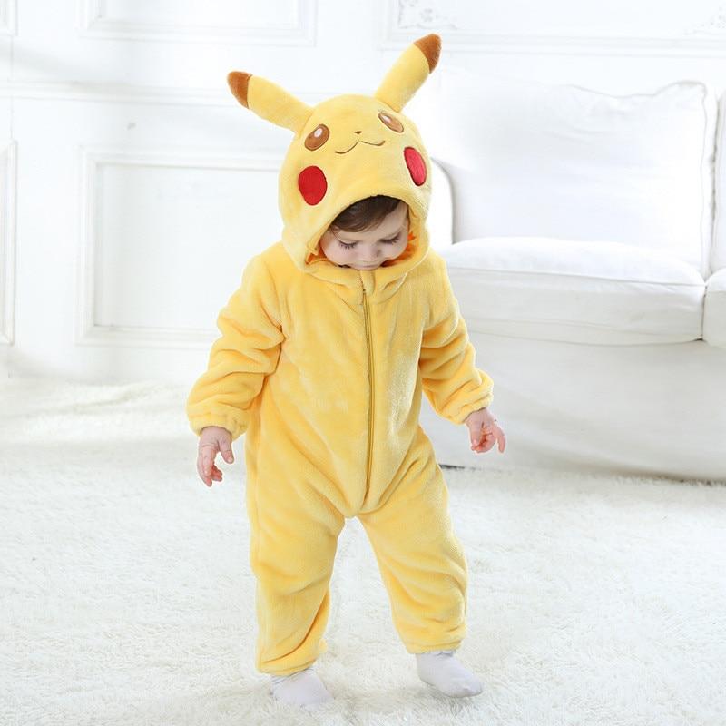 Children's Pajamas Baby Cartoon Pikachu Siamese Pajamas Autumn And Winter Warm Flannel Baby Onesies Children's Romper
