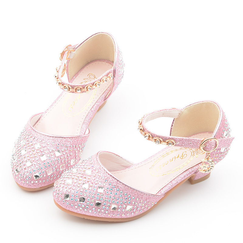 Rhinestone Little Girls Heels Sandals 2019 Big Kids Shoes For Children Summer Leather Sandals 3 4 5 6 7 8 9 10 11 12 13 Year Old