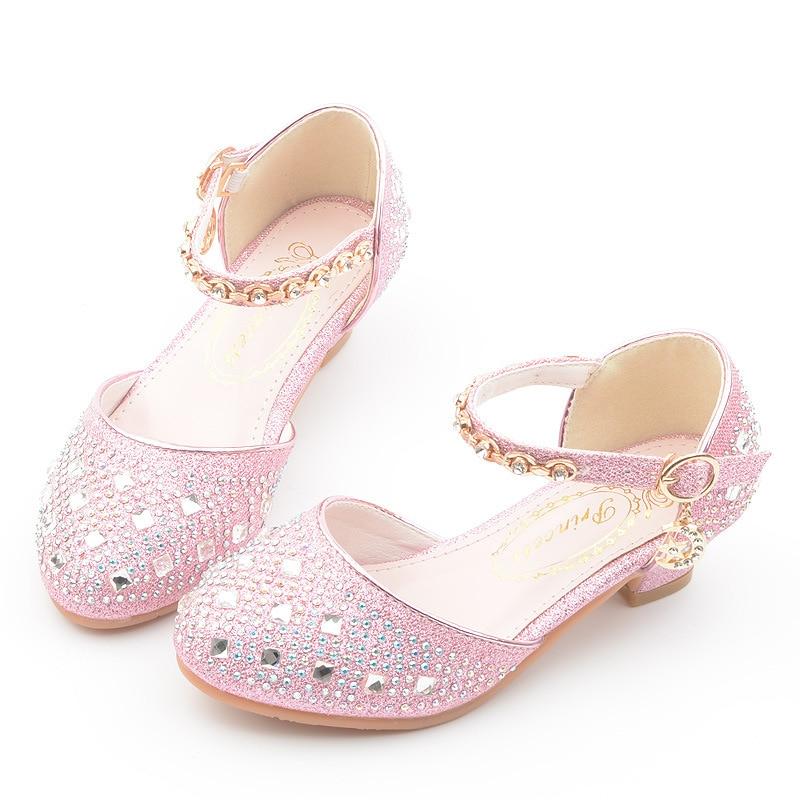 Rhinestone Little Girls Heels Sandals 2019 Big Kids Shoes For Children Summer Leather Sandals 3 4 5 6 7 8 9 10 11 12 13 Year Old|Sandals| |  -