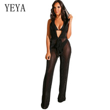 YEYA Rompers Womens Jumpsuits Sexy Open Back Hooded Mesh Playsuits Femme V-neck Sleeveless Hollow Out Transparente Bodysuits