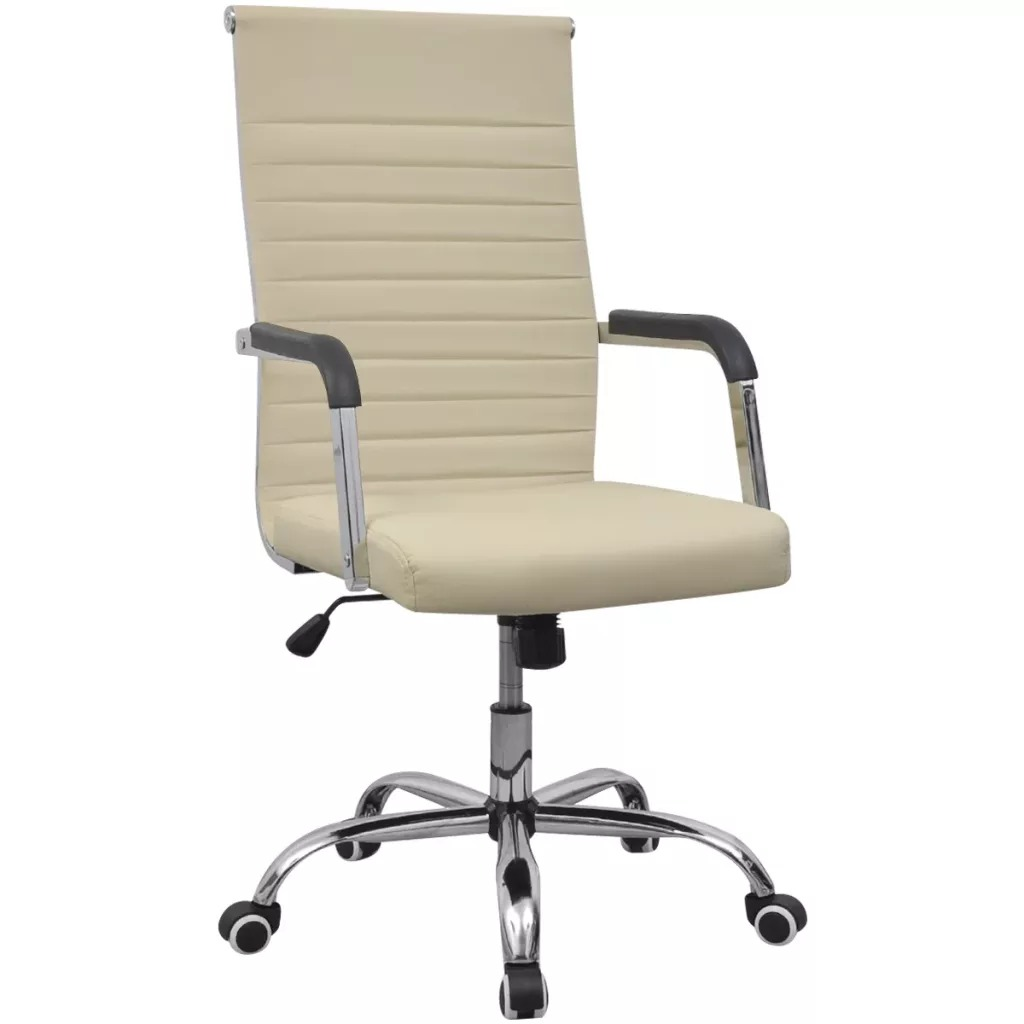 VidaXL 55x63Cm Office Chair PU Leather Seat And Backrest Adjustable Height Lift Chair With Wheels Easy Assembly Office Furniture