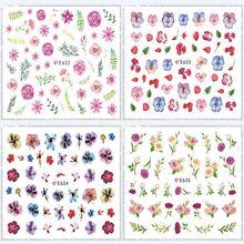 E622-643 серии 3D подтяжки ремень клей наклейки для ногтей 3D наклейки для ногтей маникюра весенние цветы наклейки для ногтей