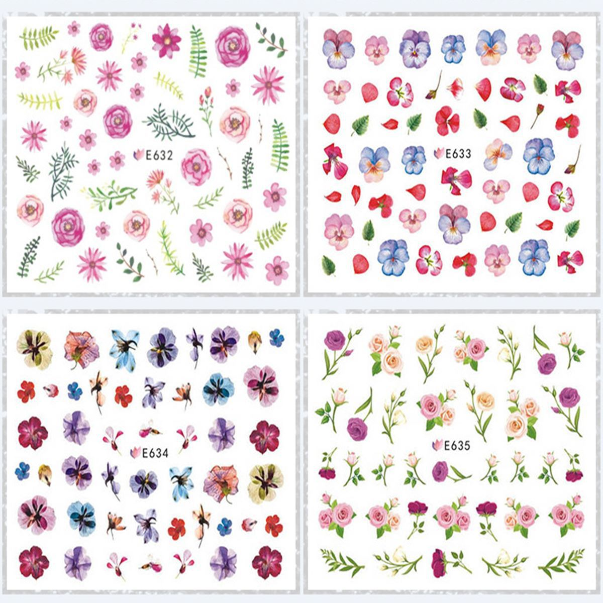 E622-643 Series 3D Suspender Strap Glue Nail Sticker 3D Nail Sticker Manicure Spring Flower Nail Decals