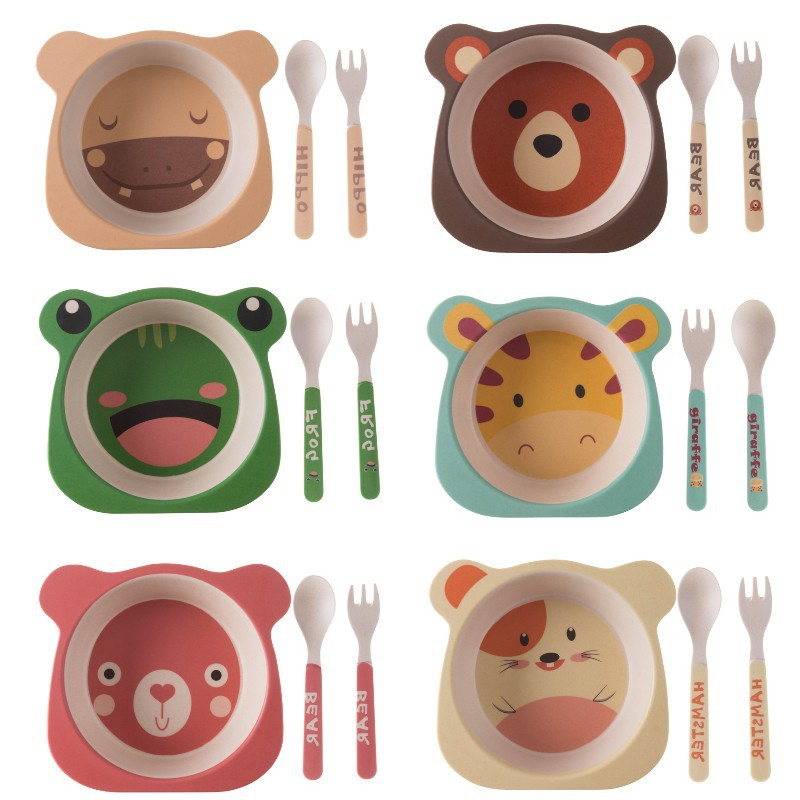 3pcs/set Bamboo Fiber Baby Cartoon Eating Tableware Kids Dinner Plate Toddler Feeding Dishes Children Training Bowl Spoon Fork
