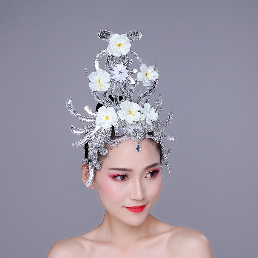 Dance Head Flower Shining Film Head Decoration Latin Dance Opening Stage Performing Square Dance Accessories Ballerina
