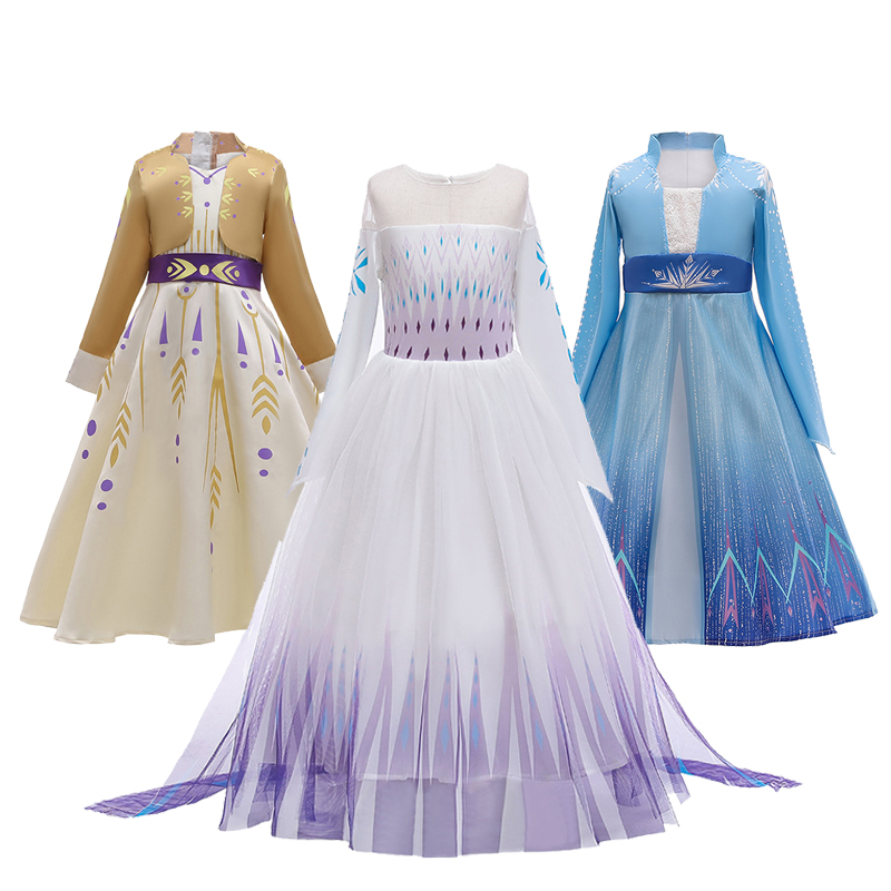 Ice Snow Fantasy 2 Cosplay Anna Elsa Girls Dress Mesh Casual Summer Party Princess Dress Snow Queen Festival Performance Costume