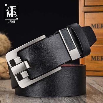 [LFMB] męska klasyczna retro punkowa skórzana markowy pasek męskie modne dżinsy z młodzieżowym paskiem ze stopu grubego ze sprzączką tanie i dobre opinie Metal Cowskin Dla dorosłych Pasy 3 8cm Moda nz329 Stałe 6 7cm 5 5cm leather belt men s belt male genuine leather strap