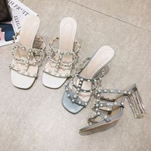 Chunky Heel Sandals 2020 New Style All-match Fairy Style Roman Riveting Nail High-Heeled Sandals Women's Open Toe Slippers