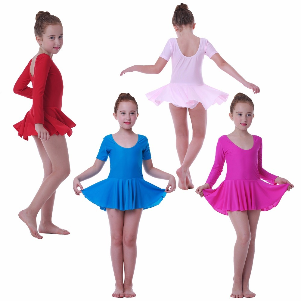 Girls' Ballet Dance Dress Children'S Gymnastics Leotard Skirt Kids' Stage Dance Wear 2-10 Years 4colors Performance Costumes