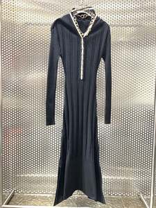 2020 New Ladies Fashion Long Sleeve V-neck Chain Link and Ribbon Knit Dress 0908