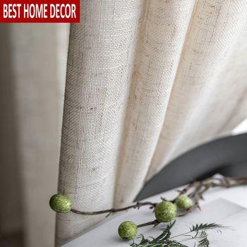 和風チュールカーテン窓リビングルームのための茶色の綿リネン volie カーテン寝室用薄手のカーテンブラインドドレープ
