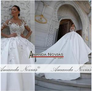 Image 3 - Zarif saten düğün elbisesi kabarık balo elbisesi desenleri
