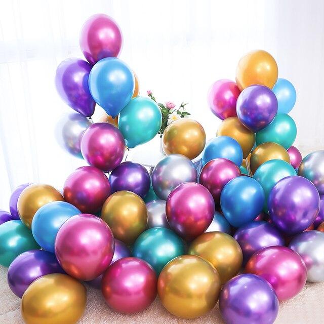 Ballon en Latex métal Rose or argent bleu vert violet   10 pièces/lot, ballons en métal chromé pour joyeux anniversaire de mariage, Ballon à Air hélium