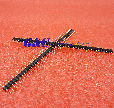 5PCS Single Row 40Pin 2.54mm Round Male Pin Header gold plated machined diy electronics