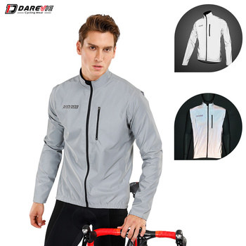 Darevie Cycling Jacket Full Reflective Cycling Jacket Removable Sleeves Cycling Jacket Biking Jacket Men Off Sleeve Cycling Vest spexcel 2018 lightweight cycling rain jacket waterproof technology 3 layer composite fabric commuting cycling jacket urban ride