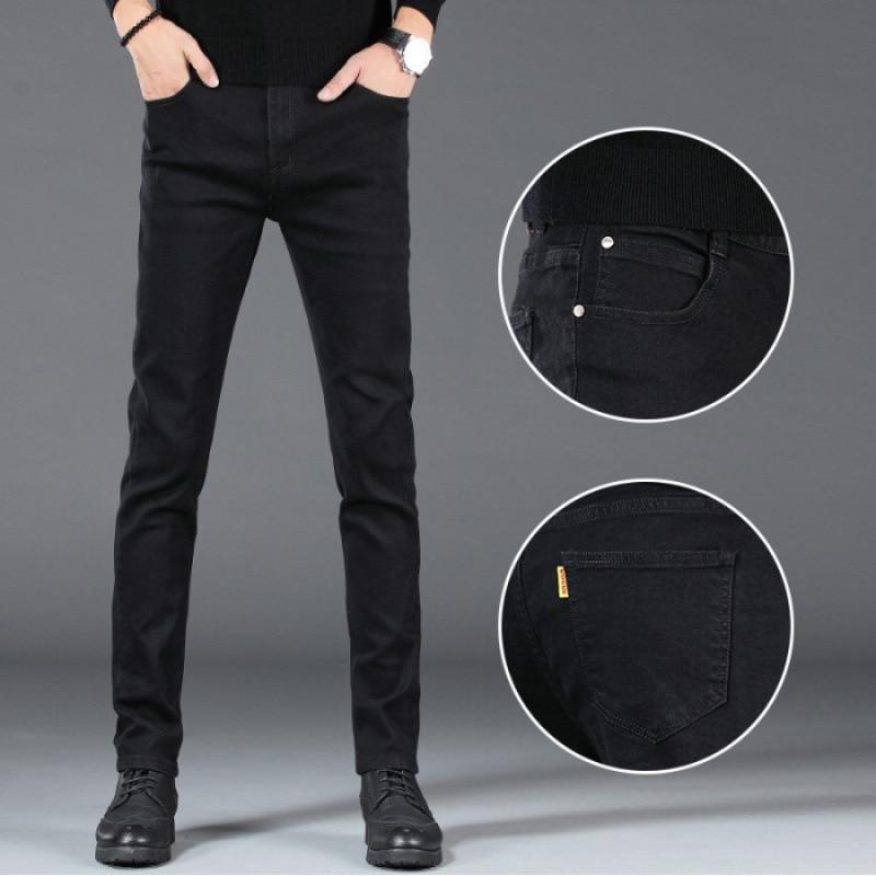 Solid Black Cowboy Trousers Men's Slim Fit Pants Elasticity MEN'S Trousers Korean-style Youth Students Pants Fashion
