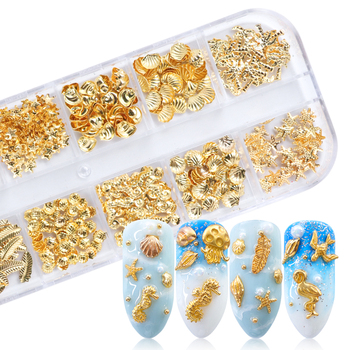 Gold Nail Art Alloy Studs Seaside 3D Decorations Sea Shell Star Feathers Charm Metal Frame Rivets Nail Sequin Accessories BE25-2