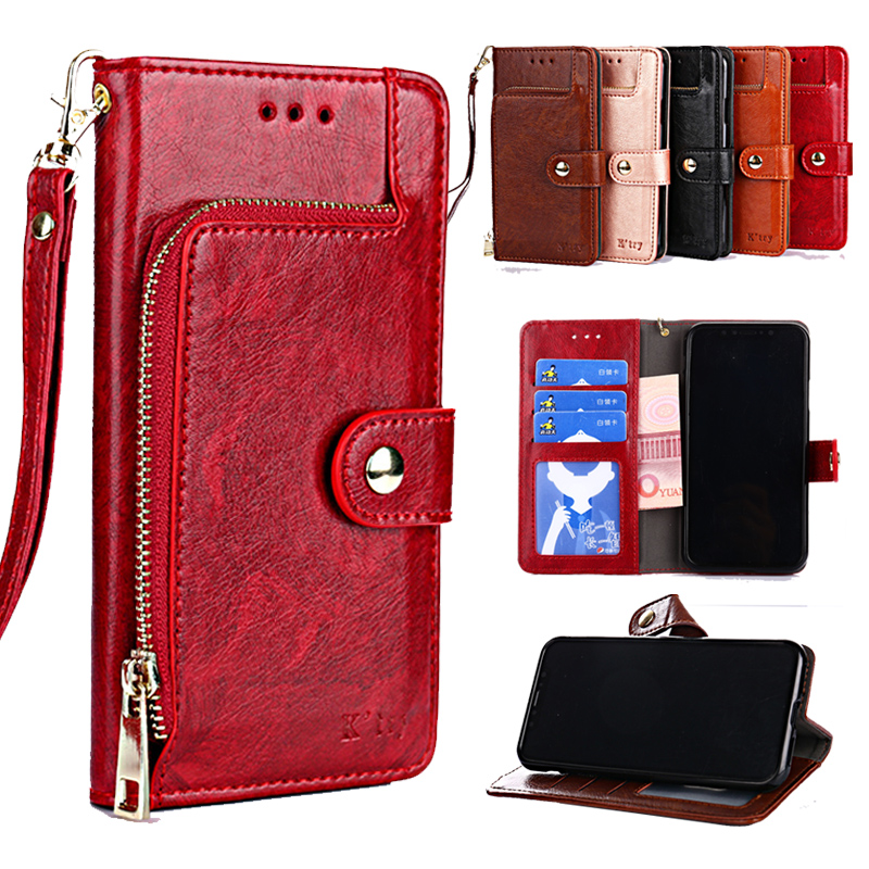 Flip Leather Zipper Wallet Case Motorola G4 G5 G5S G6 Plus E5 Z2 Z3 Play G7 Power Cover Moto P30 Note Play One Action P40 Shell