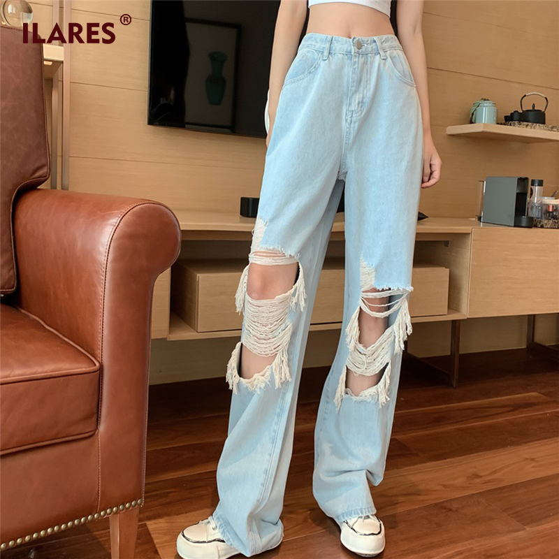 ILARES Woman Jeans Mom High Waist Ripped Jeans For Women Baggy Jeans Clothes Wide Leg Clothing Vintage Blue Denim Pants Womens