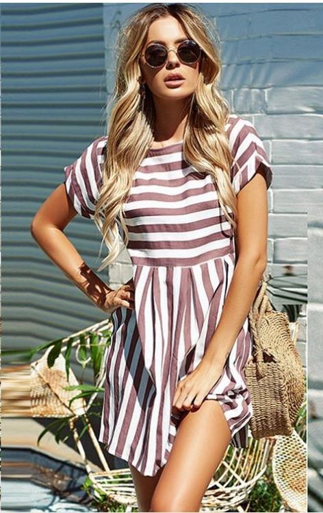 Women Summer Beach Dress A-Line Striped Short Sleeve O-Neck Print Dresses Casual Mini Style Dress 2019