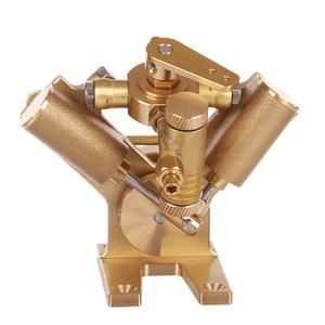 Image 5 - 8.5 × 8.2 × 7.4 センチメートル v 字型ミニ純銅蒸気エンジンモデルなしボイラークリエイティブギフトセットキッズ大人のための高品質