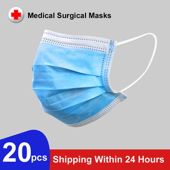 20Pcs Disposable Surgical mask Face Mouth Masks 3-Layer Filter Non Woven Medical Anti-Dust Protective Earloops Masks