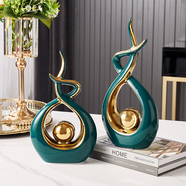 Home Decoration Accessories For Living Room Ceramic Abstract Sculpture Handicraft Statues Office Desk Decoration Art Fgurines 3