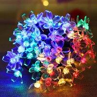 Lámpara Solar de flor de melocotón, guirnaldas de luces alimentadas por energía Solar, decoración de Navidad, boda, jardín, al aire libre, 5m, 7m