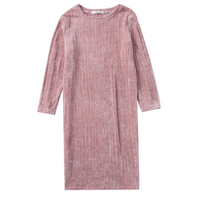 QWEEK 2019 New Autumn Solid Color Home Dress Women Korean Version Lounge Nightwear Long Sleeve Loose Cotton Sleeping Gown Women